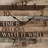 Time is Precious Waste it Wisely Vintage Wood Look Wall Clock