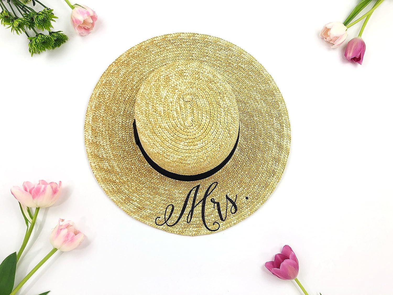 Custom Mrs Hat - Sequin Sun Hat - Bride Hat - Beach hat - Boat Hat - Boater  Hat - Bride to be hat - Beach Bride - Just Married Hat - Honeymoon Hat -  Wedding ... 3328f57f0b3