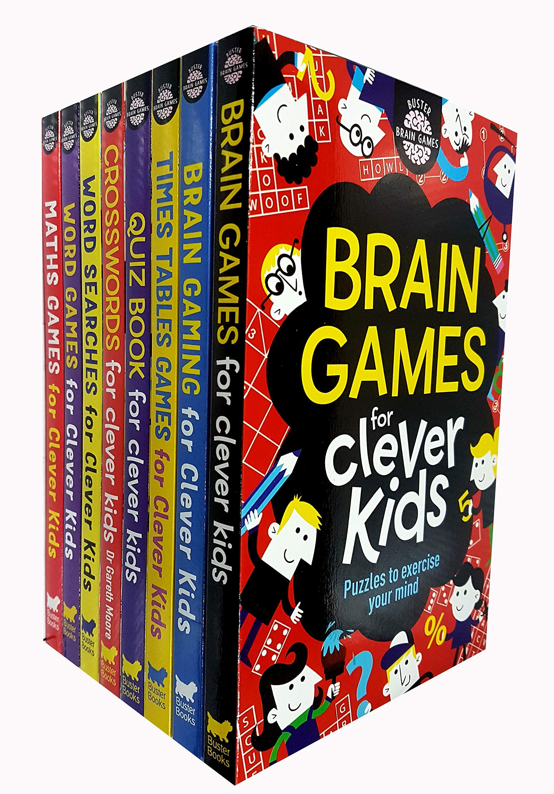 Clever Kids Brain Games 8 Books Collection Set (Brain Games,Wordsearches ,Crosswords,Quiz Book,Maths Games,Brain Gaming,Times Tables Games,Word Games)