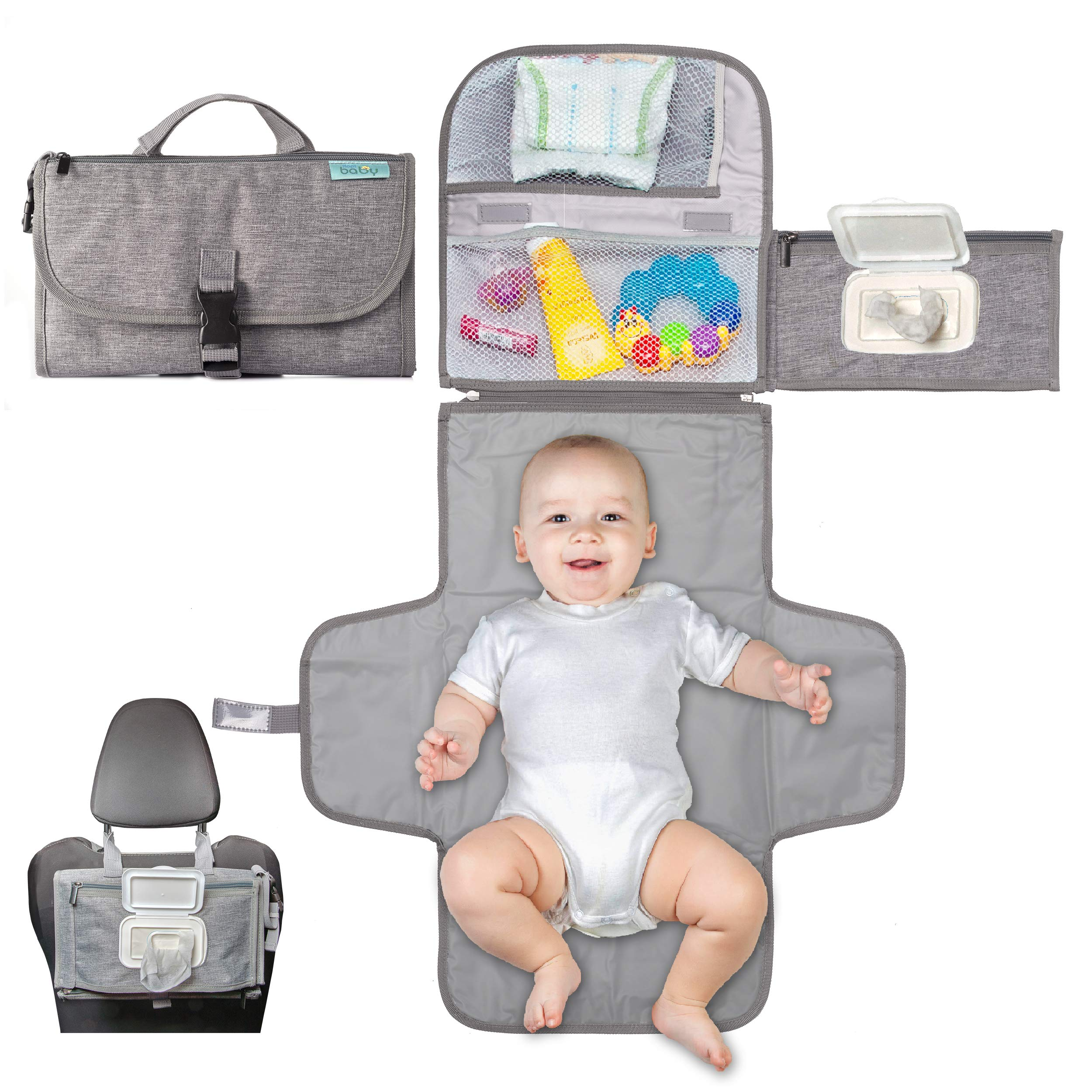 Portable diaper Changing Pad, Portable changing pad for newborn boy & girl- Baby Changing Pad with smart wipes pocket - waterproof Travel changing station kit - Perfect Baby Registry Gift by Kopi Baby by Kopi Baby