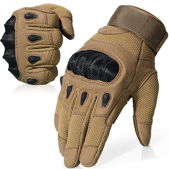 AXBXCX Tactical Touch Screen Plastic Hard Knuckle Full Finger Gloves for Army Military Motorcycle Fishing Cycling Racing Hunting Hiking Airsoft Paintball Shooting Brown-M