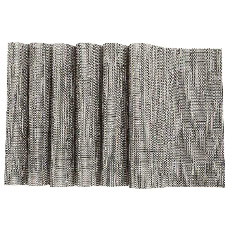 Pauwer PVC Placemats Set of 6 Washable Woven Vinyl Placemat for Kitchen Table Heat Resistant Non-Slip Kitchen Table Place Mats Wipe Clean (6pcs Placemats, Silver Grey) by Pauwer (Image #4)