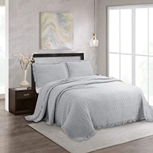 NIUDÉCOR HOME 3-Piece Quilt Set Cotton Reversible Stone Washed Coverlet Set with Ruffle, 1 Quilt and 2 Pillow Shams, Grey, Full/Queen