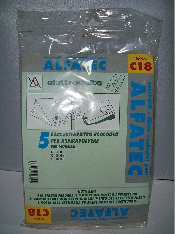 C18 - CONFEZIONE DA 5 SACCHI FILTRO PER ALFATEC CT 1000-CT 1000 S-CT 1000 E TSI
