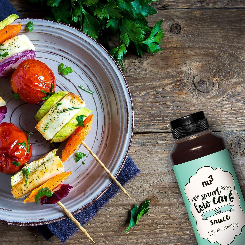 nu3 Salsa BBQ baja en calorías | Salsa para carne y verdura a la plancha | Adobo sin azúcar y sin grasa | Perfecta alternativa sana al ketchup y aderezos ...