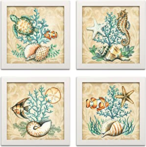 Gango Home Décor Sea Life Still Life Collages; Shells, Seahorses, Reef Fish, Starfishes & Coral; Four 12x12in White Framed Prints, Ready to Hang!