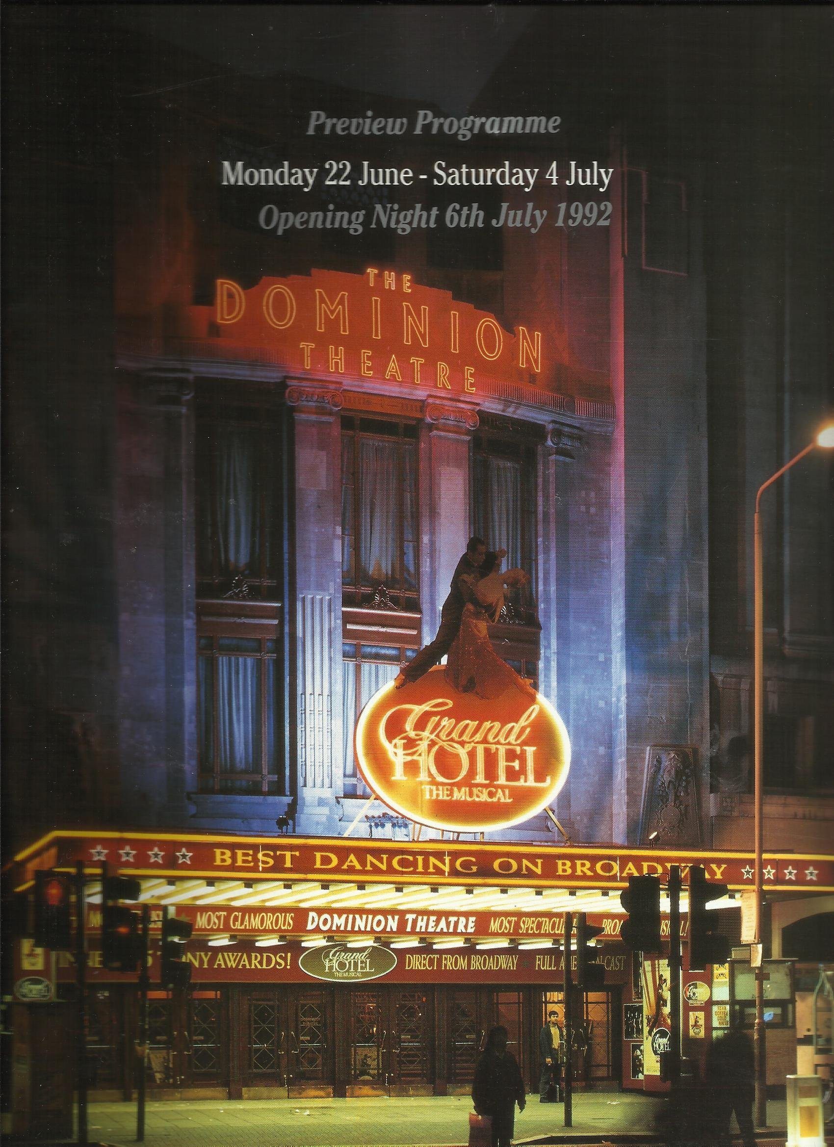 Grand Hotel The Musical Preview Programme 1992 Amazon Co Uk Luther Davis Robert Wright George Forrest Books