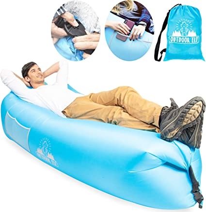 Great Home Inflatable Couch Air Lounger Camping Festival Wind Inflated Lounger Beach Couch Lazy Bag Chair Blowup Inflatable Hammock Self Hangout Sofa
