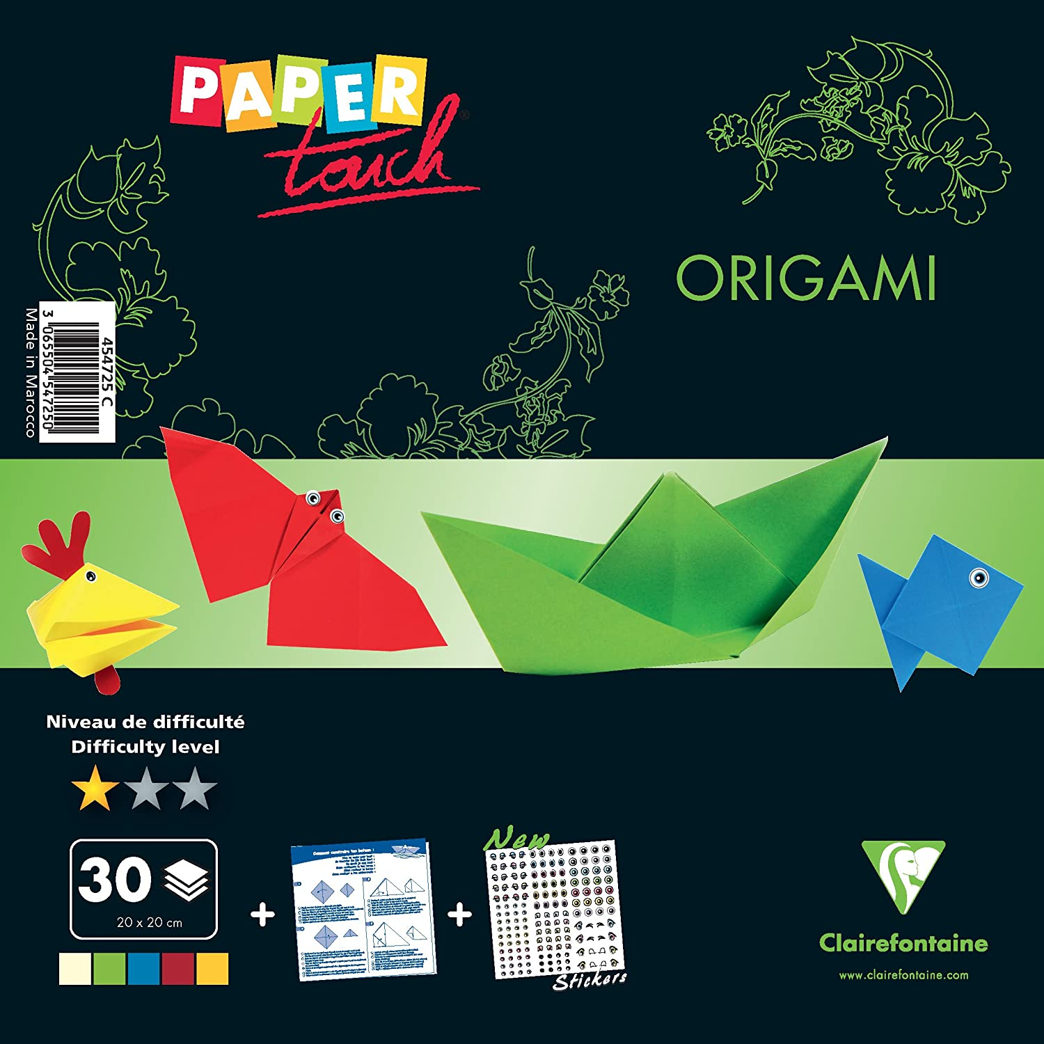 Clairefontaine 454727C Kit origami Confirm/é 20x20cm 30 feuilles assorties