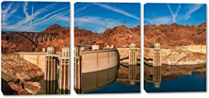 48 x 24 - Hoover Dam Canvas Print Wall Art 3 Panel Split, Triptych. USA Landmark Home Decor, Interior Design