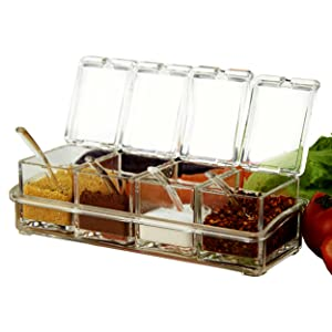 SHSYCER Acrylic Seasoning Box Seasoning Storage Clear Spice Rack Organizer Condiment Holder Container Spices,with Plastic Spoons Set of 4