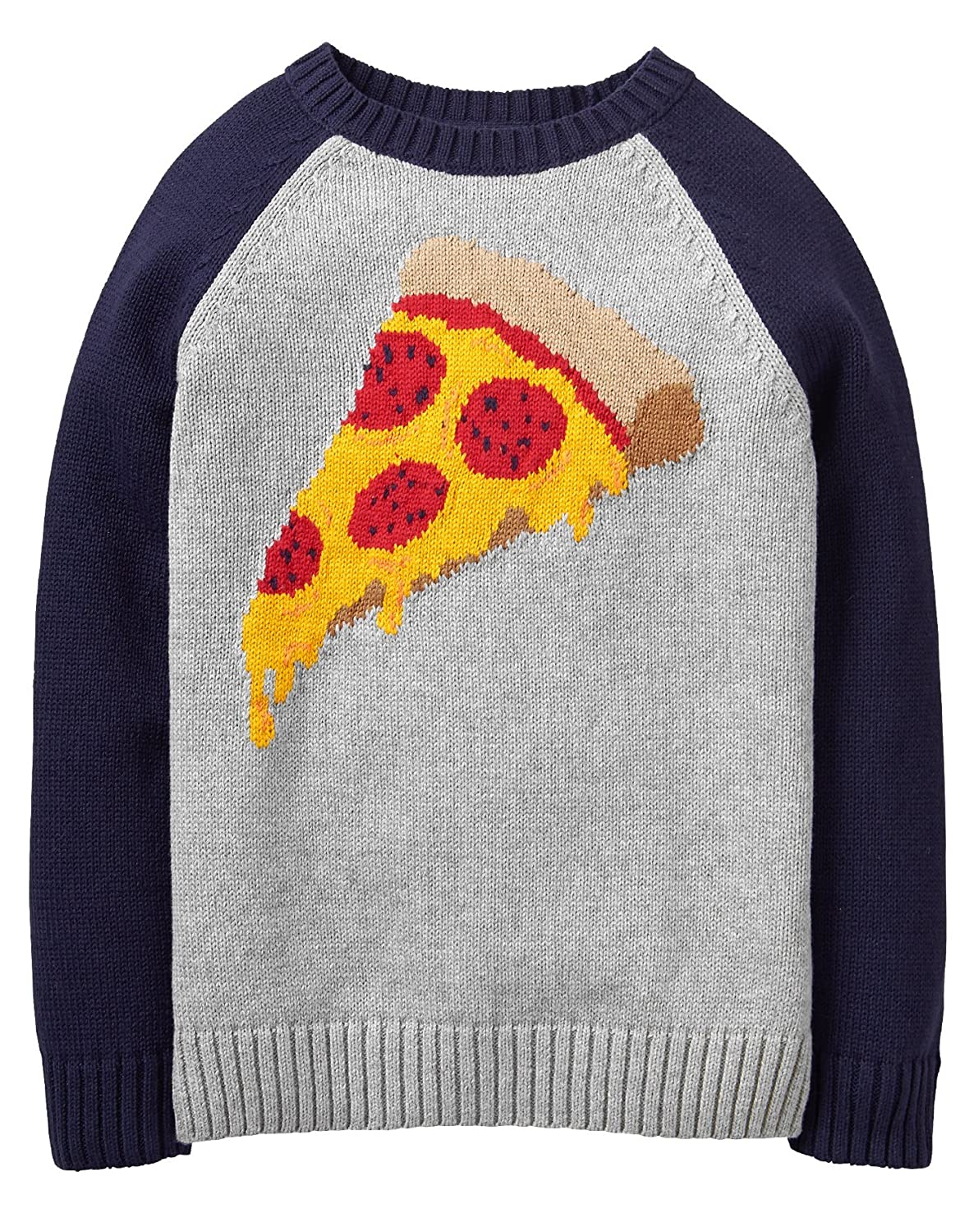 Gymboree Boys' Little Long Sleeve Raglan Pizza Sweater