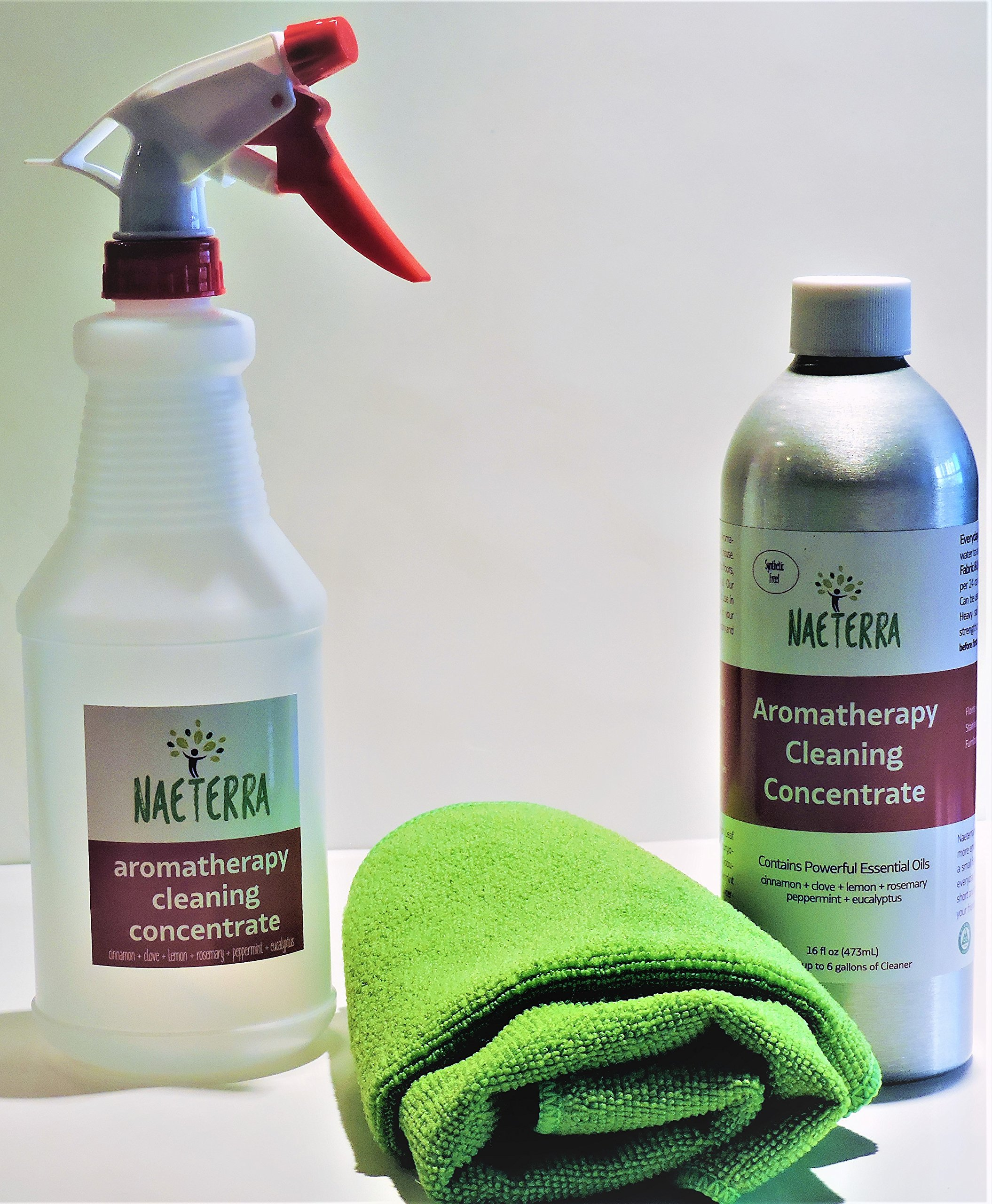 Naeterra Aromatherapy Cleaning Concentrate Starter Pack 16 Oz Concentrate, 24 Oz Sprayer, 2 Micro Fiber Towels - Compare to ANY Natural Cleaner - We Guarantee You'll Love It