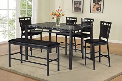 Best Quality Furniture D195Set6PC 6PC Dining Set Faux Marble Top Counter  Height, Black