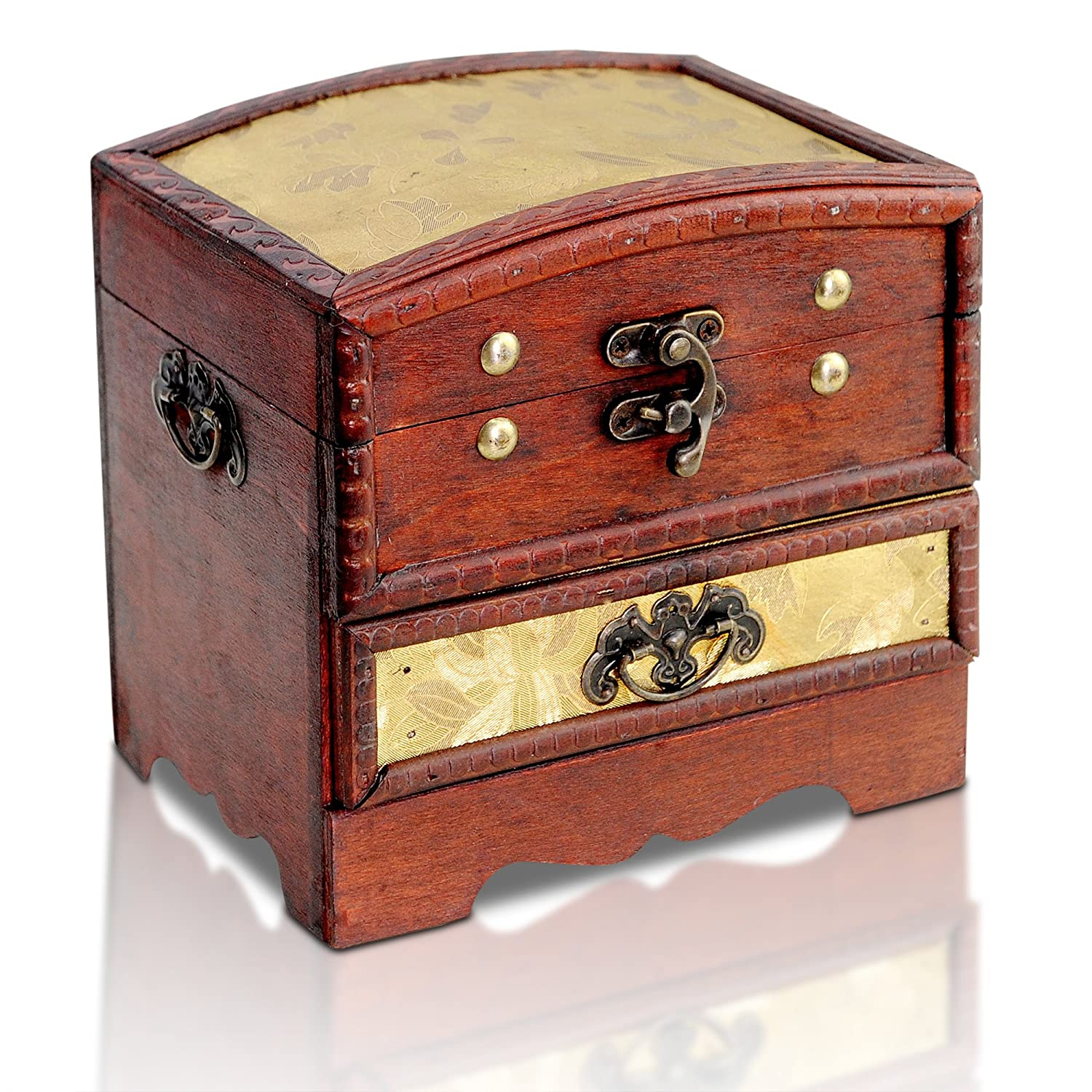 Brynnberg - Pirate Treasure Chest Storage Box - Durable Wood & Metal Construction - Unique, Handmade Vintage Design With A Front Lock - Striking Decorative Element - The Best Gift (Columbus Stoff)