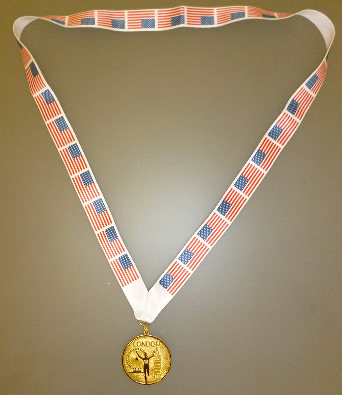 USA Winners Medal - Gold Metal Medal With American Flag Lanyard (MI3)