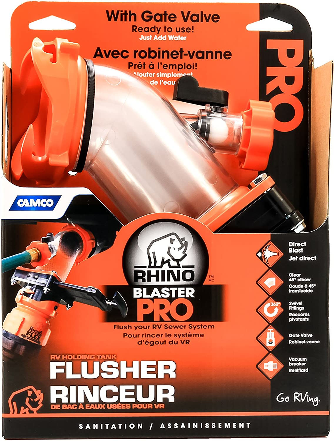 Amazon Com Camco Rhino Blaster Sewer Tank Rinser With Gate Valve Securely Attaches To Your Rv Sewer Outlet To Jet Rinse Out Residue Black Flow Preventer Prevents Hose Contamination 39085 Automotive