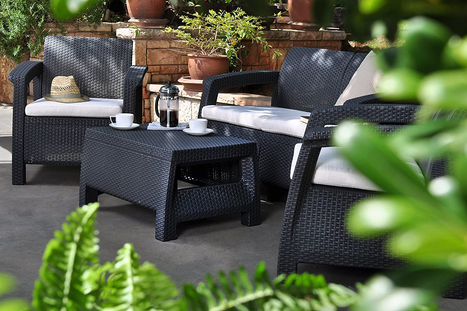 Keter Corfu Outdoor 4 Seater Rattan Furniture Set With Accent Table    Graphite With Cream Cushions: Amazon.co.uk: Garden U0026 Outdoors