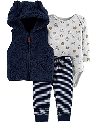 c445deb9fa4 Amazon.com  Carter s Baby Boys  3 Piece Little Vest Set  Clothing