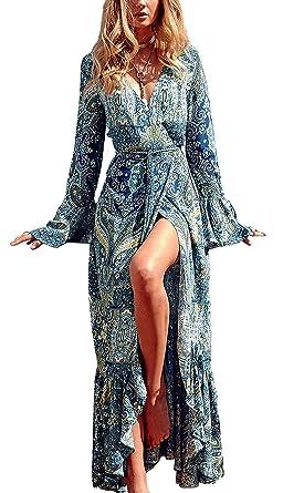 f834cfbf058e0 R.Vivimos Womens Summer Long Sleeve Cardigan Sexy Maxi Long Dresses (Lake  Blue,