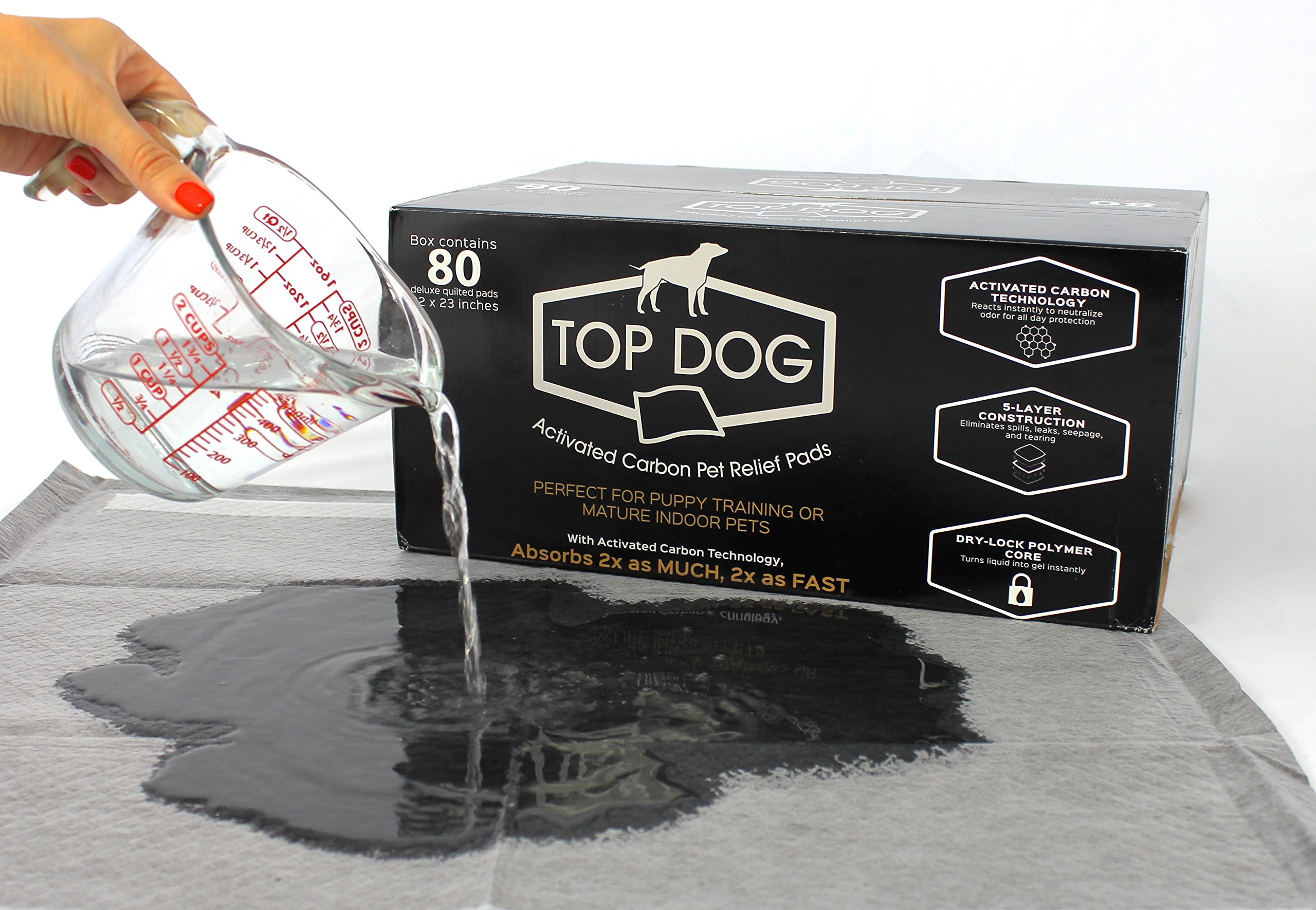dog supplies online top dog, black premium puppy pad (80 pack) dog training pads with quick-dry odor control carbon, perfect for puppy training and mature pets, 22 x 23, 80 count