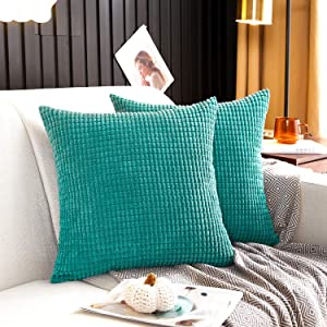 MERNETTE Pack of 2, Corduroy Soft Decorative Square Throw Pillow Cover Cushion Covers Pillowcase, Home Decor Decorations for Sofa Couch Bed Chair 18x18 Inch/45x45 cm (Granules Peacock)