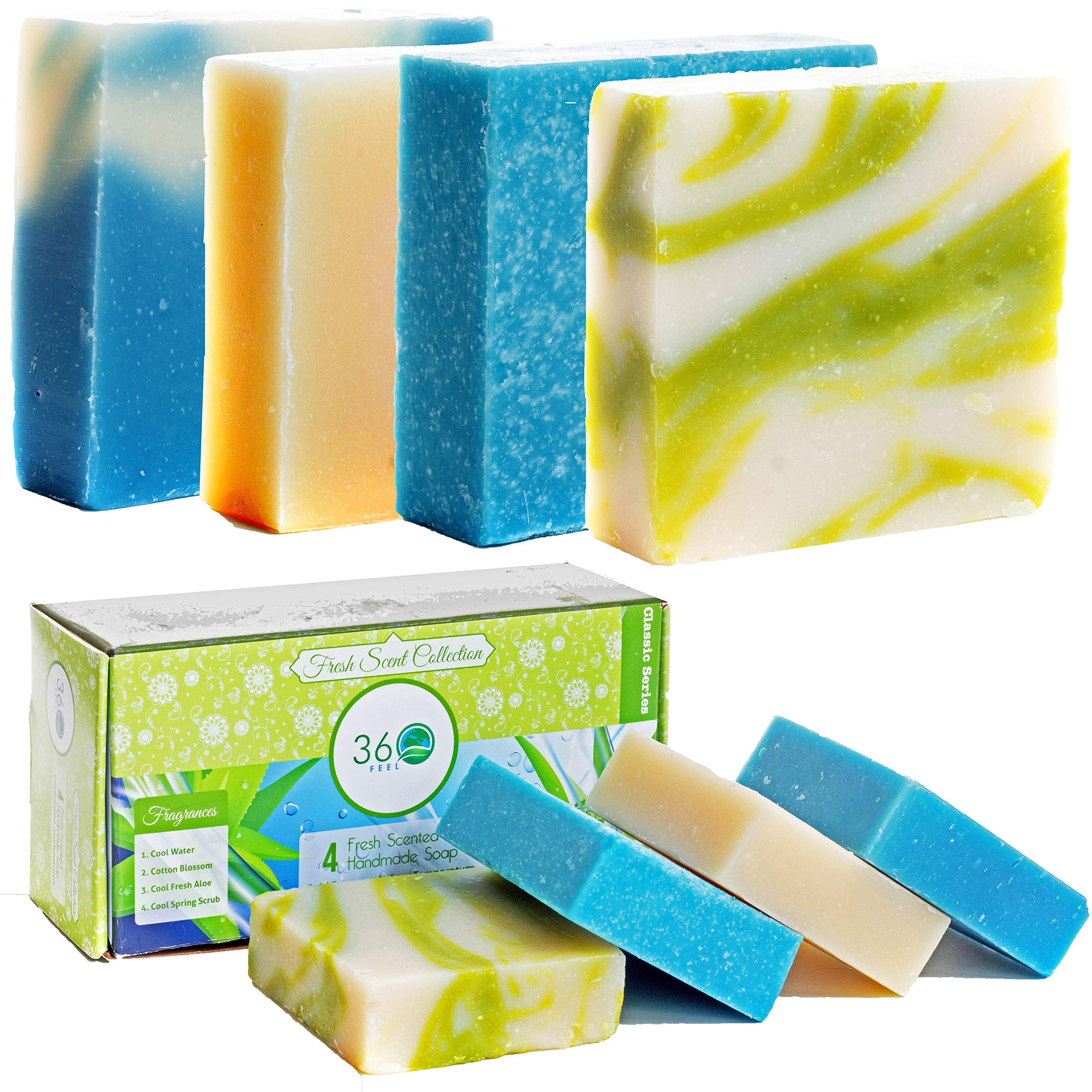 360Feel Scent Soap bars-4 Large- Aloe Vera, Cotton Blossom, Spring Scrub- Camping Anniversary Wedding Gift Set - Handmade Natural Organic Castile Soaps Essential Oil- Gift ready box fresh 20 Ounce