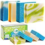 360Feel Scent Soap bars-4 Large- Aloe Vera, Cotton Blossom, Spring Scrub- Camping Anniversary Wedding Gift Set - Handmade Nat