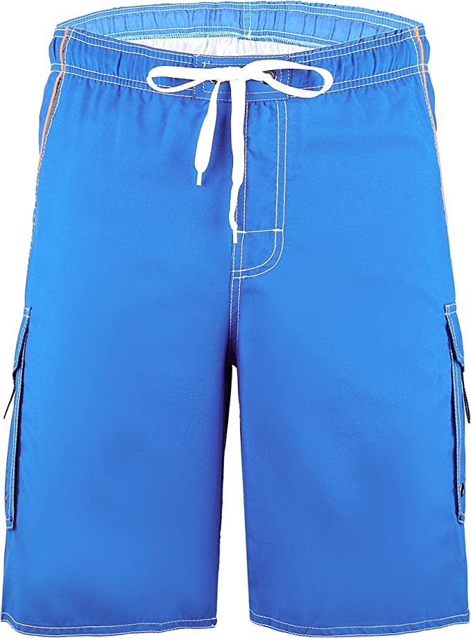 Mens Beach Swimming Trunks Board Shorts Pockets Quick-dry Mesh Lined Plain Color