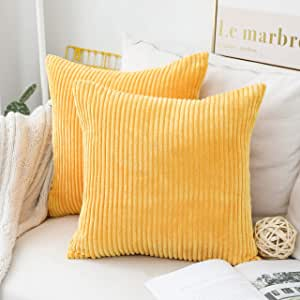 Home Brilliant Pillow Covers Super Soft Decorative Striped Corduroy Velvet Square Mustard Throw Pillows for Couch Sofa Cushion Covers Set of 2, 18x18 inch (45cm), Sunflower Yellow