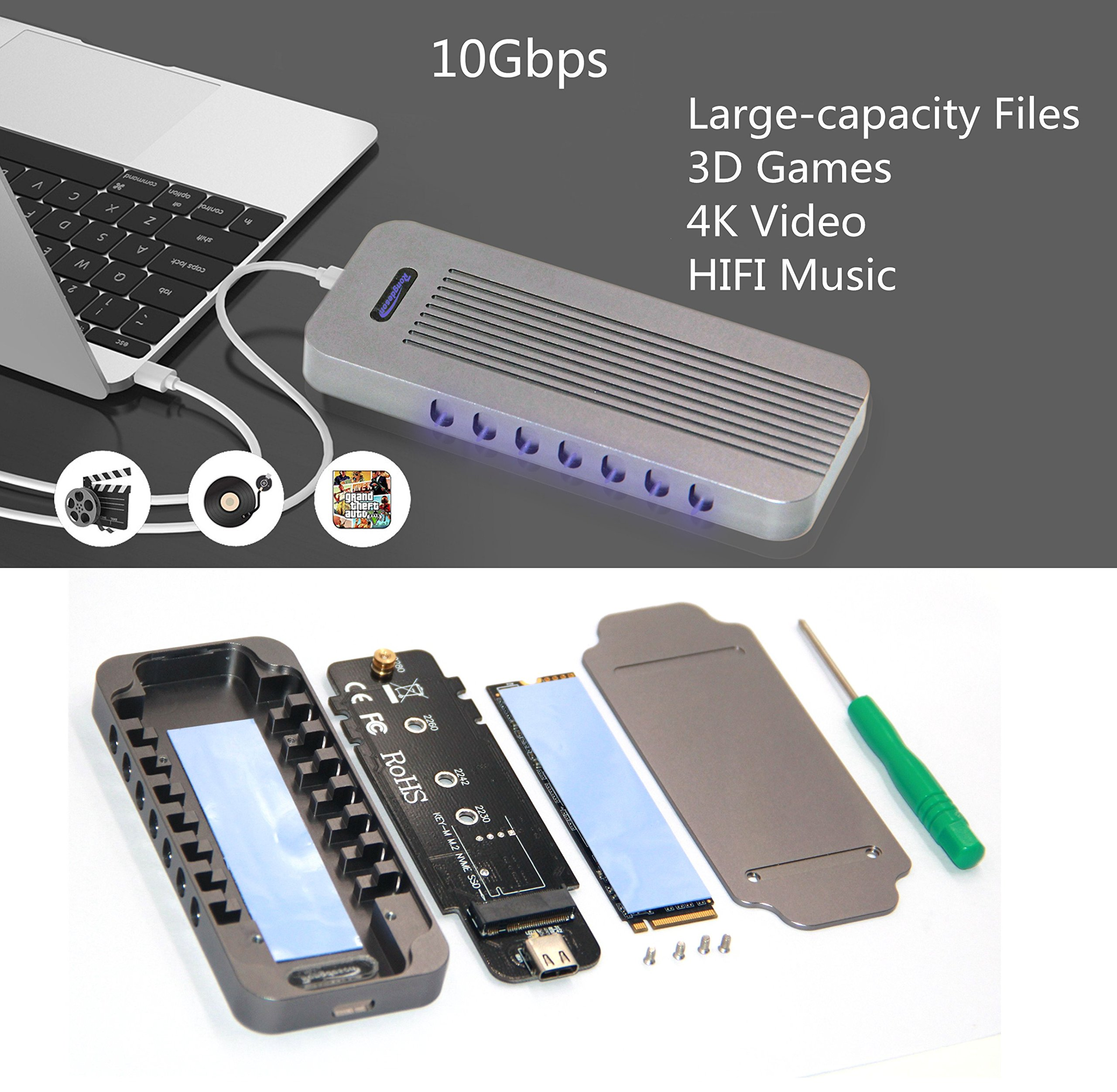 USB Type-C 10Gbps M.2 SSD Enclosure M Key, USB 3.1 To PCI-E NVMe Hard Disk Case Aluminum Design Support 2230 2242 2260 2280 Support Samsung SM951/SM961 (902 CToC, Charcoal Gray) by WBTUO (Image #10)