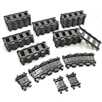 ZHX 56PCS City Train Tracks Accessories Straight and Flexible Train Tracks Railroad Building Toy Compatible with Major…