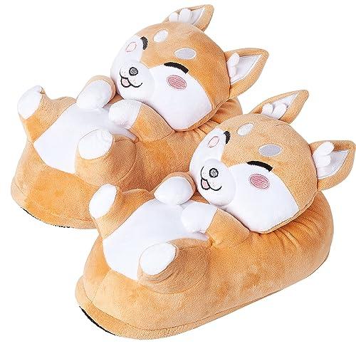eea8aaa46a8 corimori 1847 - Shiba Inu Akito Cute Plush 3D Animal Shaped Slippers