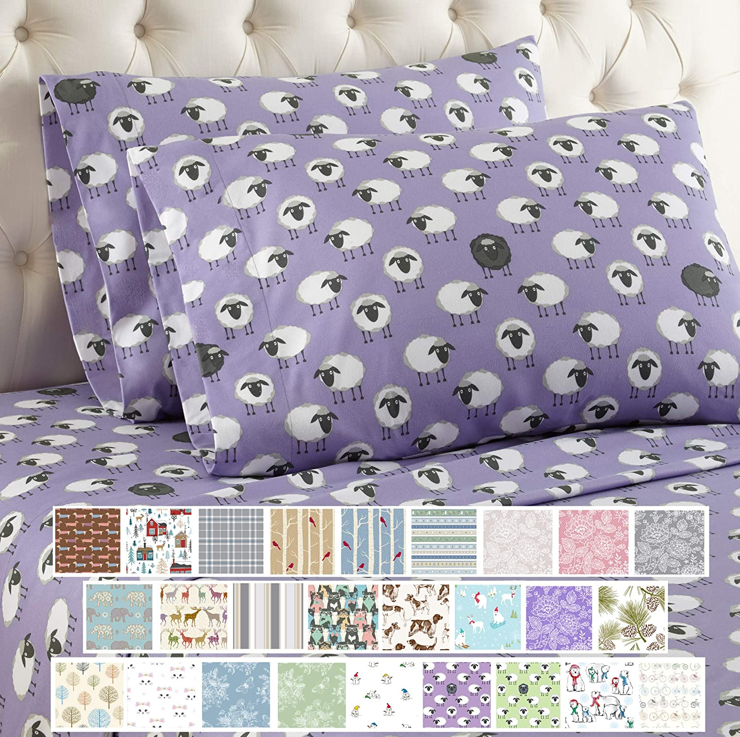 Amazon Com Thermee Micro Flannel Counting Sheep Lavendar Sheet Set Cal King Lavender Home Kitchen