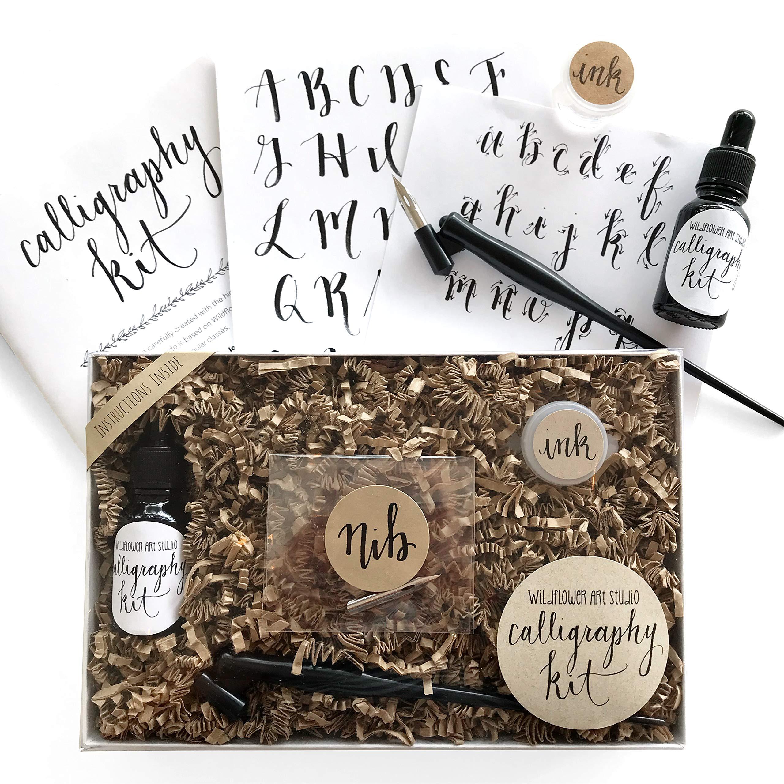 Calligraphy Starter Kit - Beginner Calligraphy Lettering Set - Beginning Modern Calligraphy DIY Kit - Oblique Pen Hand Lettering with Nib by Wildflower Art Studio