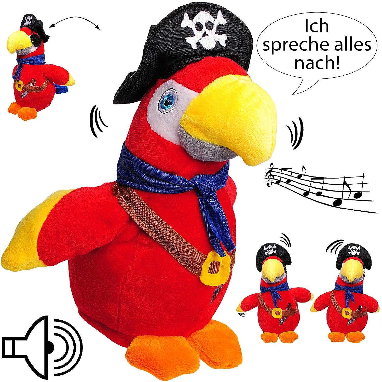 NACH sprechender - Papagei / Vogel / Ara - Pirat -  Ich spreche Alles nach & bewege Mich dazu  - inkl. Name - aus Stoff / Plü sch - Plü schtier - mit Sound & .. alles-meine GmbH - NACH sprechender - Papagei / Vogel / Ara - Pirat