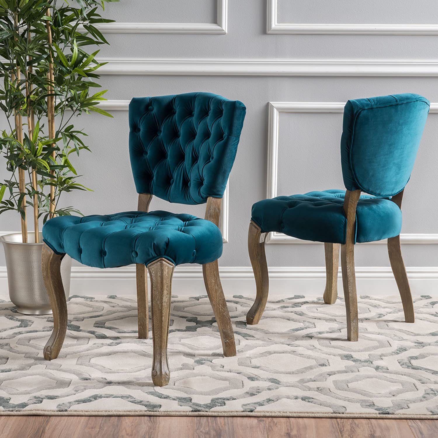 Christopher Knight Home 299587 Bates Tufted New Velvet Fabric Dining Chairs (Set of 2), Dark Teal