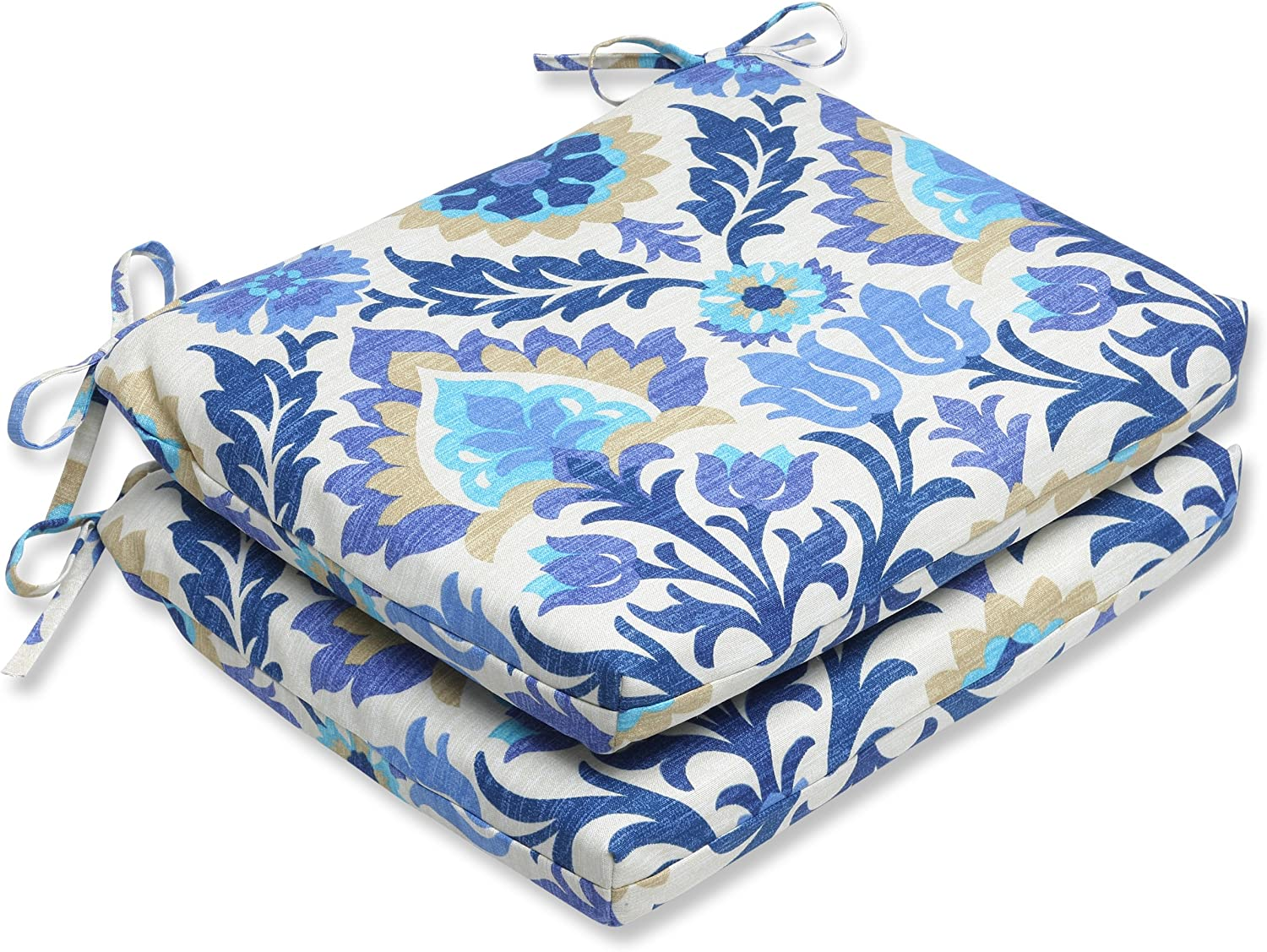 Pillow Perfect Outdoor Santa Maria Azure Squared Corners Seat Cushion, Set of 2