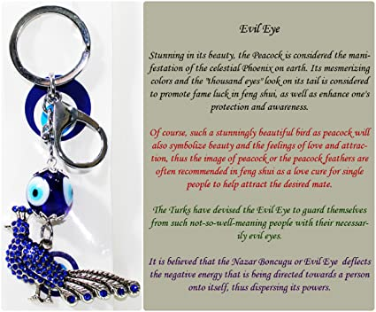 FCS Peacock Key Ring with Turkish Evil Eye to Protect