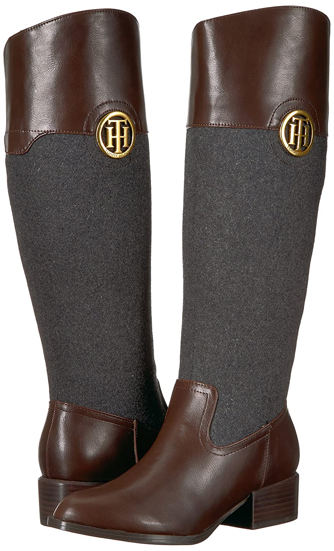 Tommy Hilfiger 6 Women's Madelen Equestrian Boot B06XVHBCYF 6 Hilfiger B(M) US|Grey Flannel/Brown 18f5f5