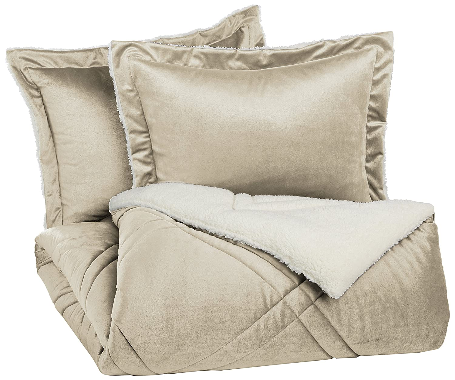 Pinzon Plush Hypoallergenic Diamond Stitch Comforter Set - Full/Queen, Bone