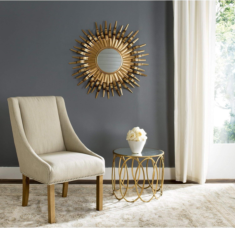 Amazon Com Large Gold Sunburst Mirror Midcentury Bursting Round Decorative Wall Mounted Accent Sun Beam Frame Spokes Deco Metal Home Kitchen