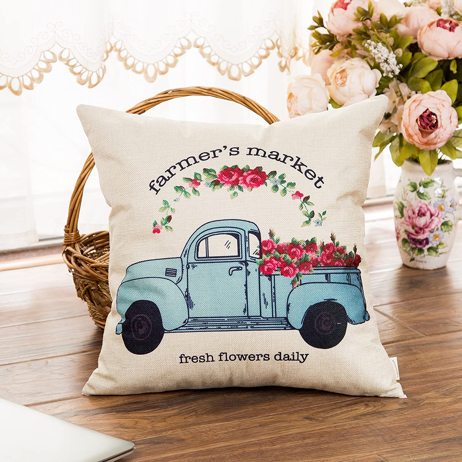 Amazon Com Fahrendom Farmer S Market Fresh Flowers Daily Vintage Truck Watercolor Floral Retro Farmhouse Quote Cotton Linen Home Decorative Throw Pillow Case Cushion Cover With Words For Sofa Couch 18 X 18 Inch