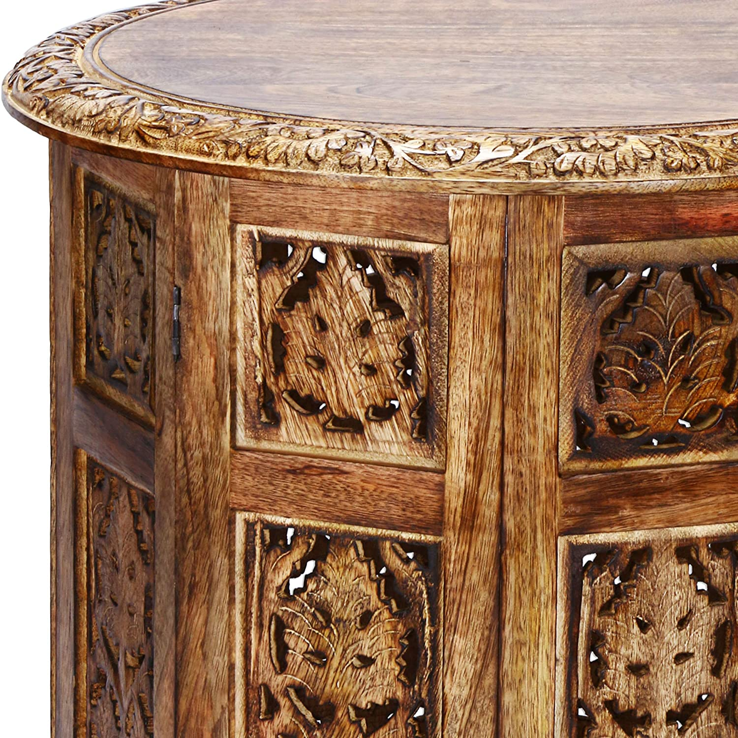 sofa bedside tables as oriental Home or Living room Decoration Moroccan Style Folding Small Solid Wood Side Table Ashkar Brown /ø 45cm Round Indian Design flower stool as carved furniture.