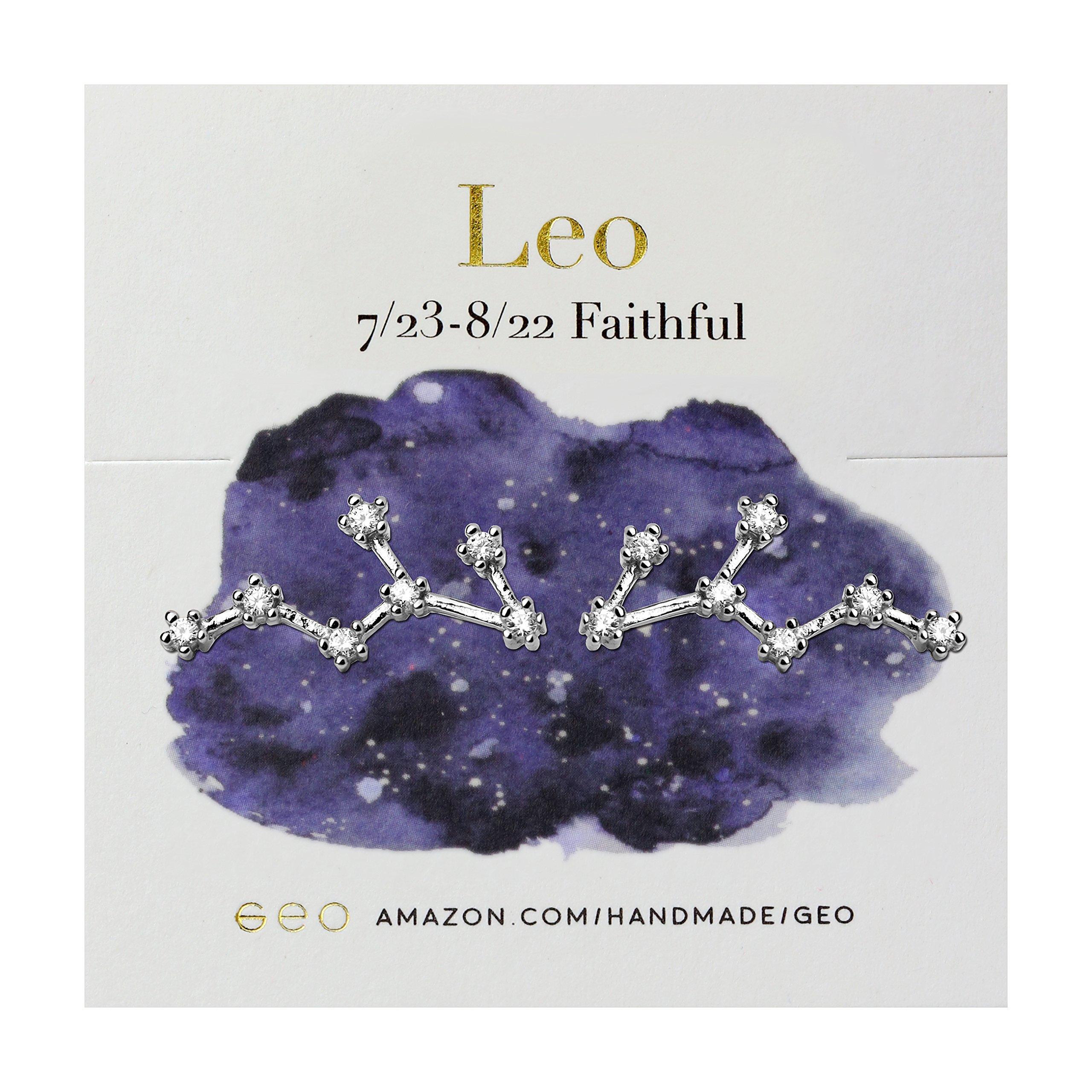 Sterling Silver Zodiac Constellation Earrings (Leo)