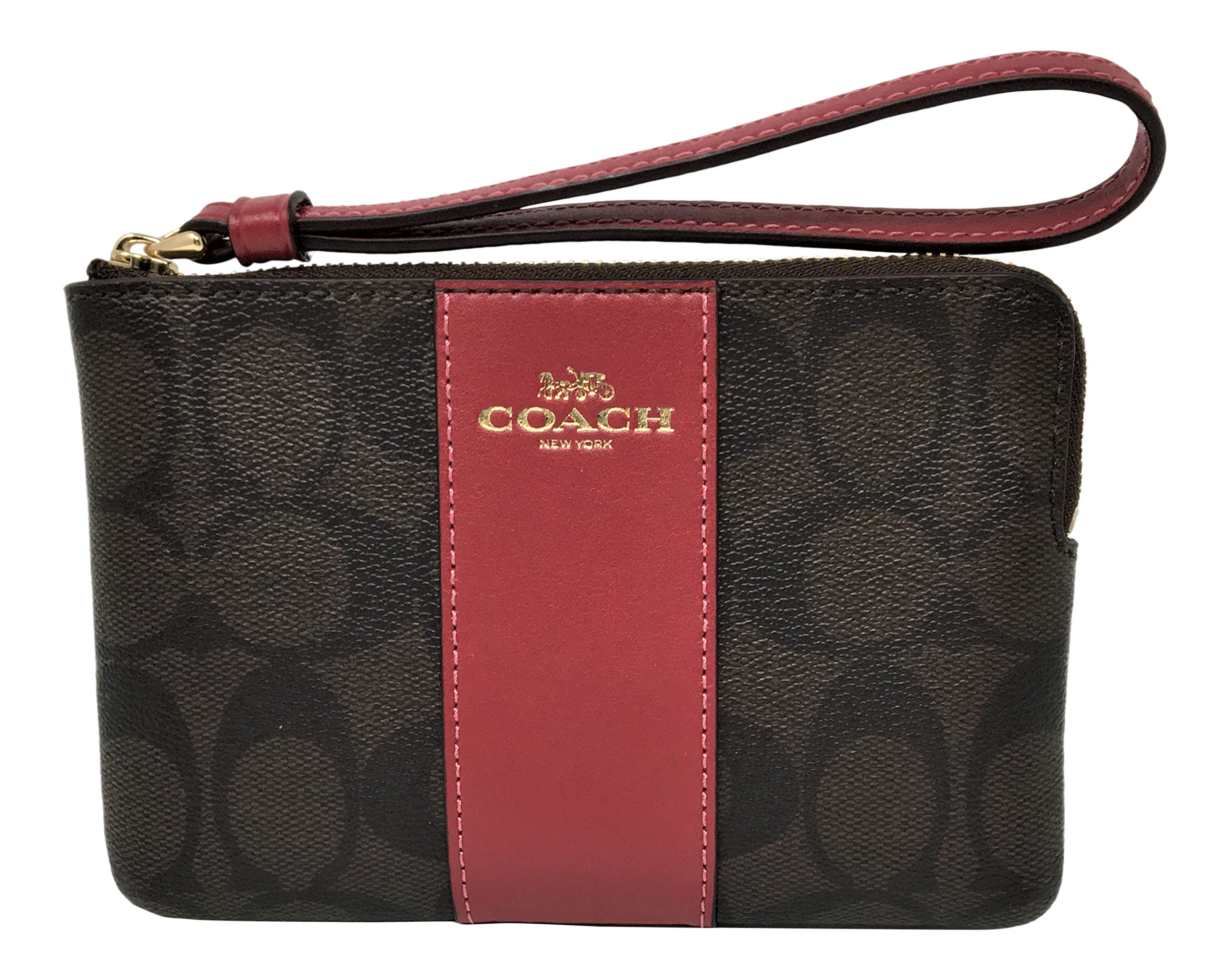 Coach Signature PVC Leather Corner Zip Small Wristlet Brown Hot Pink F58035