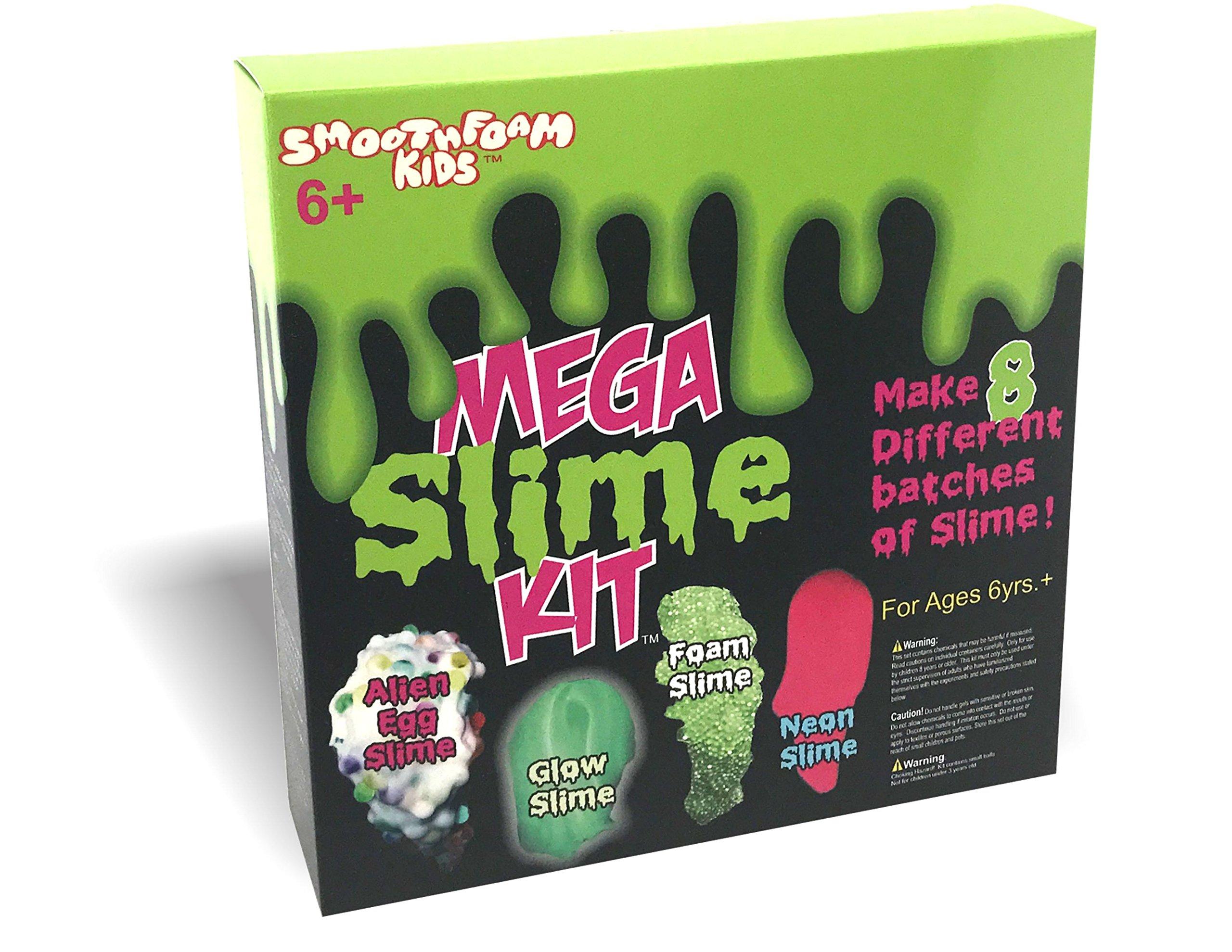 Smoothfoam Kids - Mega Slime Kit - Make Glow Slime - Neon Slime - Crunchy Slime - Alien Slime