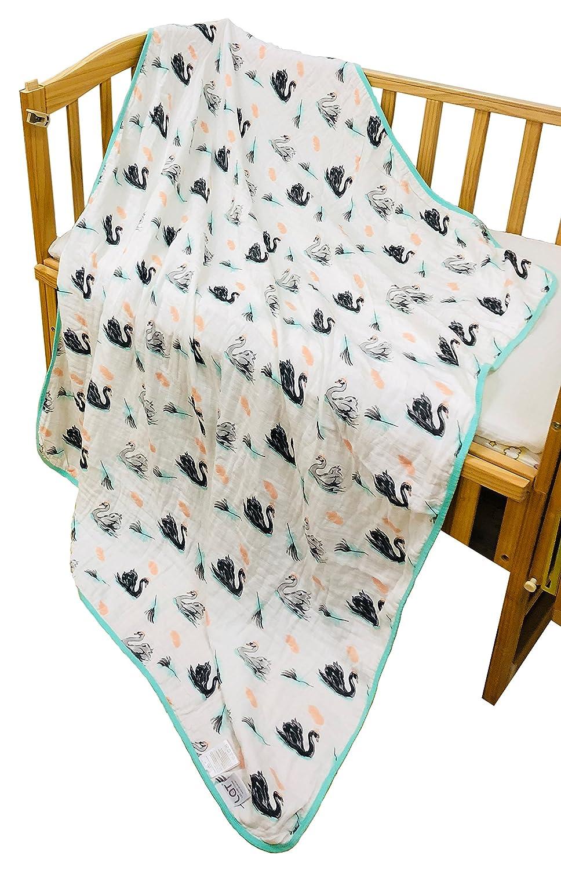 Musselin Decke Babydecke Kuscheldecke Kinderwagendecke Einschlagdecke Puckt/ücher Baby Sommer 120x150CM Federn Stoff Flamingo 2-Lagig