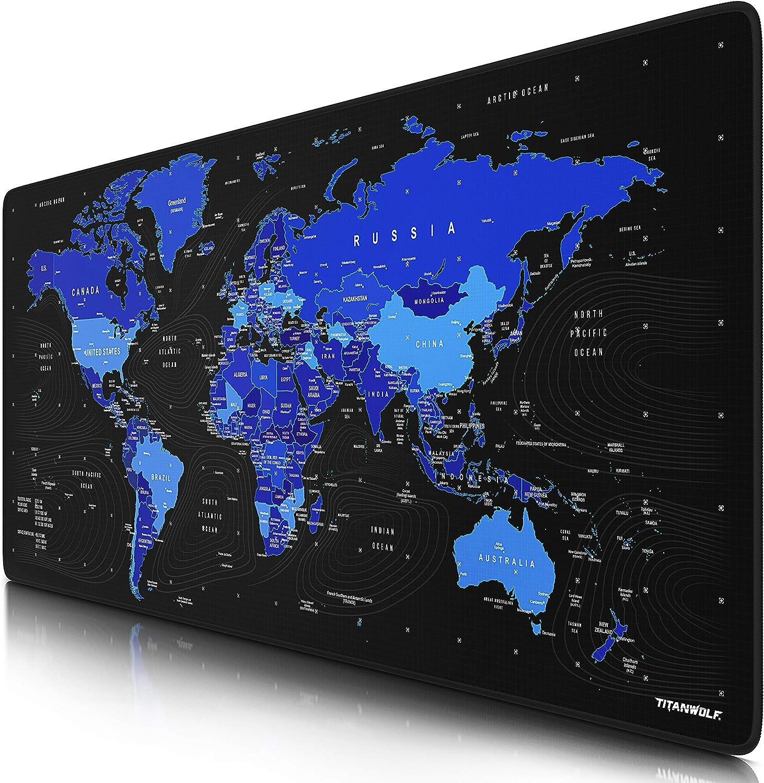 Titanwolf – Alfombrilla de ratón XXL para Videojuegos 900 x 400 mm – Alfombrilla de ratón Grande – Precisión y Velocidad – Base de Goma – Antideslizante Resistente al Agua – Mapa del Mundo Negro Azul
