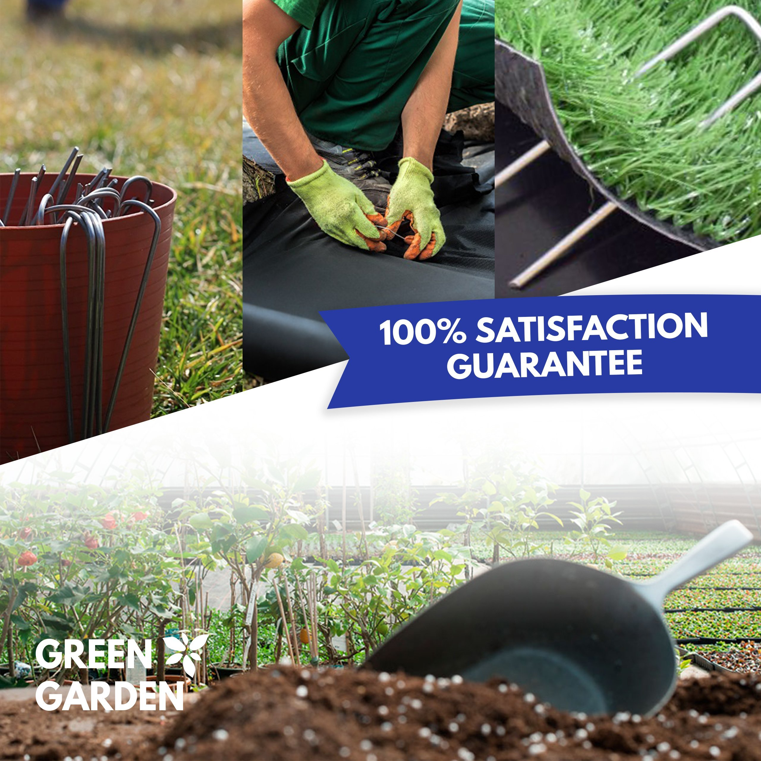 GreenGarden 6 Inch Garden Landscape Staples Stakes Pins SOD | 200 Pack | Galvanized Steel | For Weed Barrier Fabric, Ground Cover, Soaker Hose, Lawn Drippers, Drip Irrigation Tubing etc. | by
